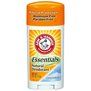 Arm & Hammer Essentials Natural Deodorant Solid, Unscented, 2.5 Ounce