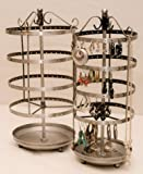 51TnRSZztBL. SL160  Earring Jewelry Organizer Stand PEWTER SILVER Antique Metal Earring Holder Tree Tabletop Spins Popular Woman Teen Gift Holds Up To 140 Pair WITH Catch All Dish Base