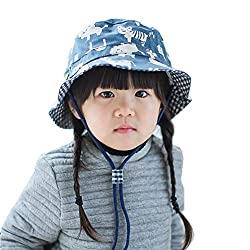 Home Prefer Baby Kids Floppy Brim Soft Cotton Bucket Hat with Strap Cute Animal Zoo Pattern Sun Protection Cap #54