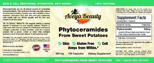 Phytoceramides Made From Sweet Potatoes 100 Caps - 100% All Natural Skin Restoring Oral Supplement Vitamins Capsules w/ Rice - Plant Derived Based Phytoceramide Pills for Hydration - 350 Mg - Moisturizing & Hydration Facial Supplements for a Full 90-day Supply Gluten Free