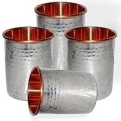 DakshCraft Handmade Drinking Stainless Steel Inside Copper Glass, Set of 4