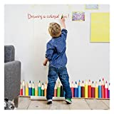 Wall Decals For Classroom - Colorful Crayons Vinyl Wall Stickers for Kids - Removable wall Murals for Playroom, Large Stick and Peel Art by Dooboe (Color: Colorful Life, Tamaño: 49.2