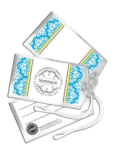 Three Designing Women Designer Luggage Tags, Blue Medallion Collection front-782563