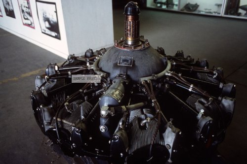Photo A 1,000-horsepower radial aircraft engine of the type used in B-17 Flying Fortress aircraft, this one built under license by the Studebaker Corporation, lies on the floor of a 512th Military Airlift Wing (512th MAW) hangar as part of a B-17 exhibit. The, 09/01/1988