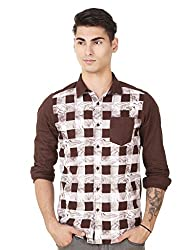 4Stripes Men's causal Print Shirt (4SSH013_XXL_BROWN)