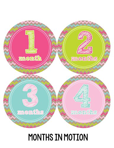 Months in Motion 227 Monthly Baby Stickers Milestone Age Sticker Photo Prop Newborn Girl Chevron- ...