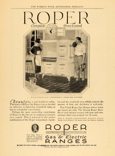 1924 Ad Roper Kitchen Gas Electric Ranges Oven Control - Original Print Ad