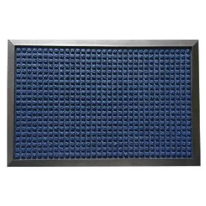 "Rubber-Cal 03-200-ZWBL ""Nottingham"" Rubber Backed Carpet Entry Indoor Doormat, 2' x 3', Blue"