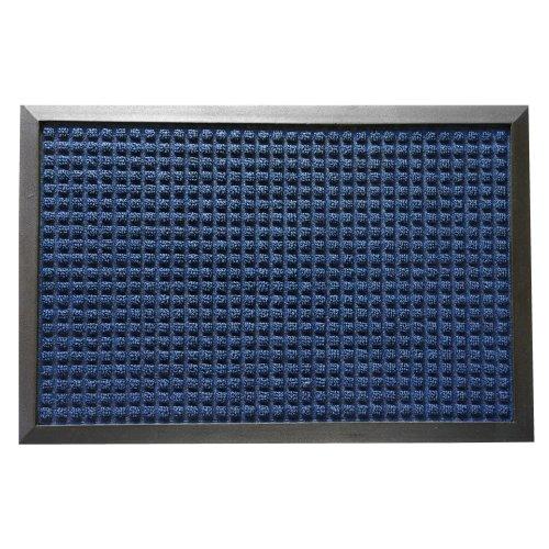 Rubber-Cal Nottingham Rubber Backed Carpet Entry Mat - 2 x 3 feet - Blue Indoor Doormat