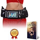 Best Dual Pocket Hydration Running Belt; Fits ALL Smartphones W/Touchscreen-Compatible Cover; 2 FREE Leak-Proof...