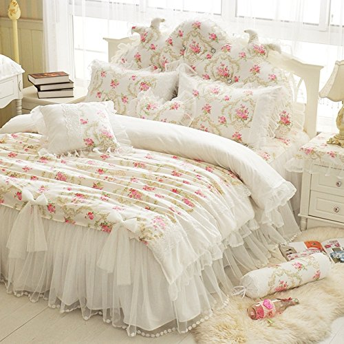 LELVA Girls Bedding Set Lace Ruffle Duvet Cover Princess Bedding Set Vintage Floral Print Duvet Cover Twin Full Queen King (Full, White) 0