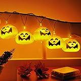 20 LEDer Lichterkette Kürbis geformte Batteriebetriebene feenhafte Beleuchtung für Halloween Weihnachten Hochzeit und Party Dekoration, ca. 2,2m Länge, Warm Weß