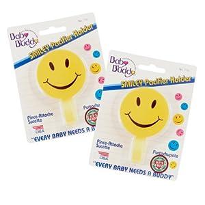 Baby Buddy - Cinta para chupete (2 unidades, 0-36 meses), diseño de smiley, color amarillo marca Compac Industries