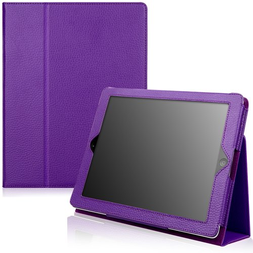 CaseCrown Bold Standby Genuine Leather Case (Purple) for iPad 4th Generation with Retina Display, iPad 3 & iPad 2 (Built-in magnet for sleep / wake feature)