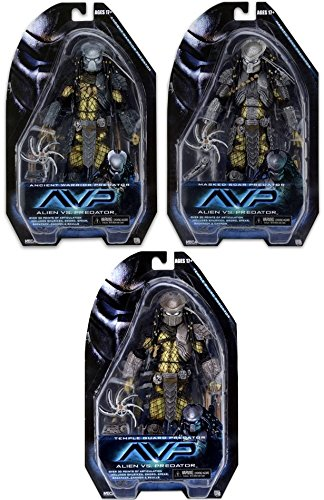 NECA Predator Series 15 Masked Scar, Temple Guard & Ancient Warrior Set of 3 Action Figures