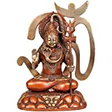 Exotic India Bhagawan Shiva Seated On The Kailash Mountain With Om - Brass Statue