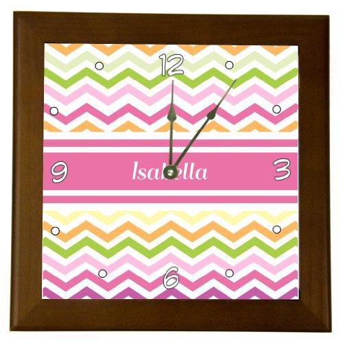 "Rikki Knighttm ""Isabella"" Pink Chevron Name Design 6"" Wood Framed Art Wall Clocks Desk Clocks front-631432"
