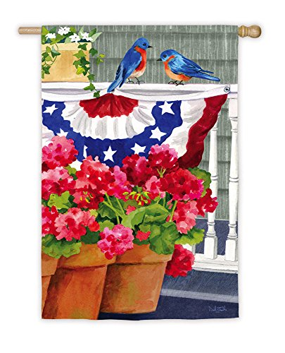 Bluebird Bunting And Geraniums House Flag front-1073818