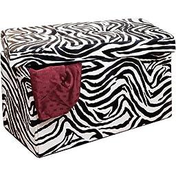 3 Cu Ft Double Folding Ottoman, Zebra