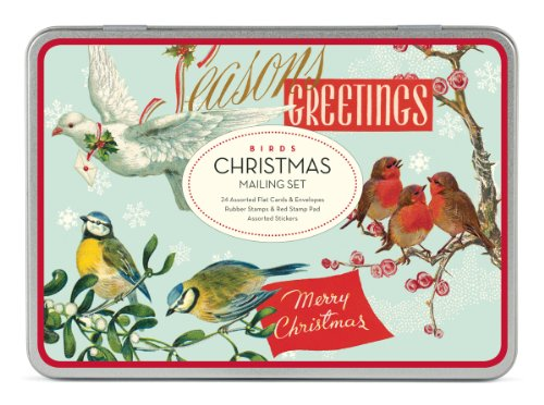 Cavallini Christmas Birds Mailing Sets, 24 Assorted