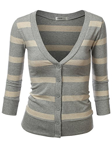 J.Tomson Womens Striped V-Neck Button Down Cardigan Heather Gray Heather Beige Small