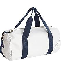 Sailor Bags Round Duffel with Blue Straps, Medium, White/Blue