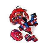 Muñecas Saica 78-7499 - Patin linea, talla 31 a 34 con casco y protecciones mochila, diseño Spiderman