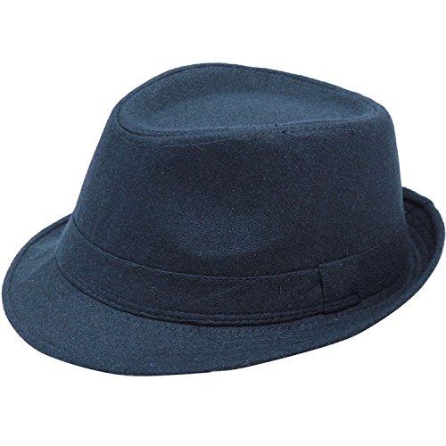 Simplicity Unisex Timelessly Classic Manhattan Fedora Hat, Navy