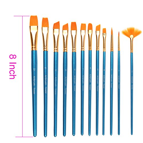 Premium Painting Brush Set-12 Piece Golden Synthetic Hair, Short Wooden Handle Artist Paint Brushes for Acrylic, Oil, Watercolor Painting