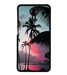 Fuson Premium 2D Back Case Cover Coconut tree With yellow Background Degined For Micromax Canvas Xpress 2 E313::Micromax Canvas Xpress 2 (2nd Gen)