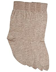 Mikado Skin Colour Lycra Woolen Thumb Socks for Women - 3 Pair Pack