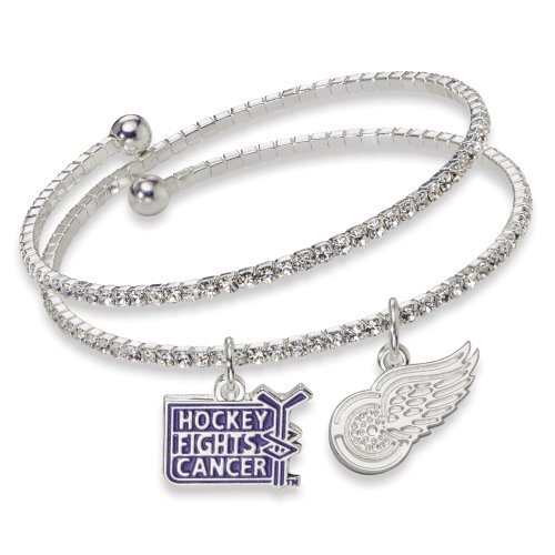NHL Detroit Red Wings Hockey Fights Cancer Support Bracelet, One Size Fits All
