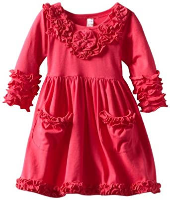 Love U Lots Baby-Girls Infant Pocket T-Dress with Ruffles and Flowers, Sangria, 18 Months