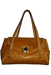 B. Makowsky Women's Claudine Genuine Leather Satchel Handbag, Large, Nutmeg