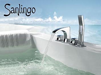 sanlingo design 4 loch wannenarmatur wannenrand armatur f r badewanne galatina dee692. Black Bedroom Furniture Sets. Home Design Ideas