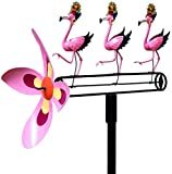 Wind and Weather Carmen Miranda Dancing Pink Flamingos Wind-Powered Whirligig