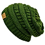 Luxury Divas Olive Green Thick Slouchy Knit Over Sized Beanie Cap Hat