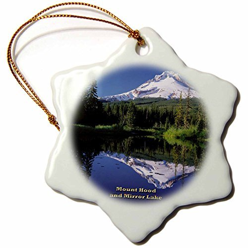 Ornaments to Paint _ Mount Hood and Mirror Lake Cascade Range of Volcanoes in Oregon Porcelain Snowflake Ornament, 3-Inch (Hanging Stove Hood compare prices)