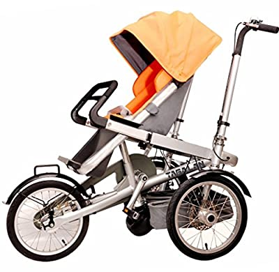 Tagalan 3 Wheels Mother Baby Bike Stroller Folding Bicycle 16inch Pushchair Bike Carrier 3 in 1 With Canopy (1 Seat, Orange)