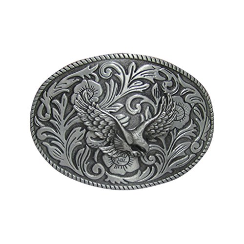 E-Clover Vintage Men's Western Eagle Belt Buckle Cowboy Engraved Oval Belt Buckles