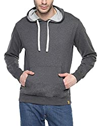 Campus Sutra Charcoal Mens Hoodie (AW15_H_M_PLN_CH_S)