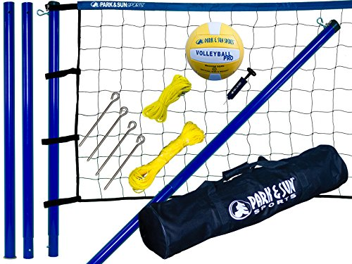 Park & Sun Spiker Sport Steel Volleyball Net, Blue