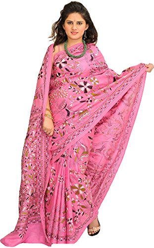 Exotic India Aurora-Pink Kantha Sari from Kolkata with Hand-Embroidered Flowers (Pink Indian Sari Adult Costume)