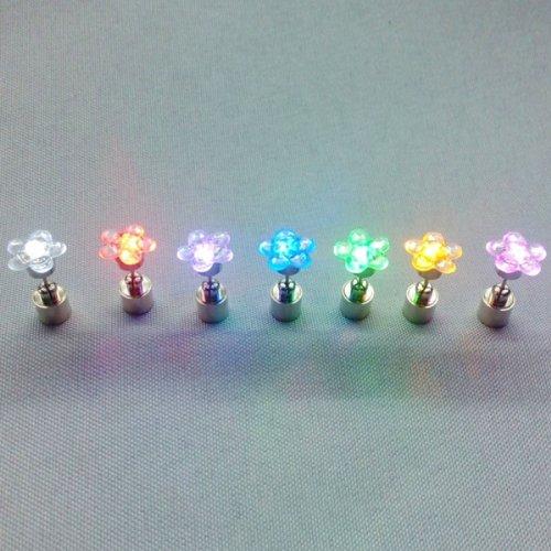 Fashion Stylish Plum Flower Shape Led Stud Earrings Colorful By Preciastore