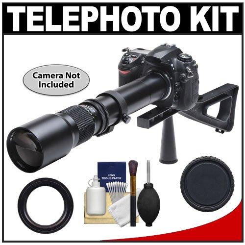 Phoenix 500Mm Telephoto Lens With 2X Teleconverter (=1000Mm) + Stedi-Stock Shoulder Brace Kit For Canon Eos 60D, 7D, 5D Mark Ii Iii, Rebel T3, T3I, T4I Digital Slr Cameras