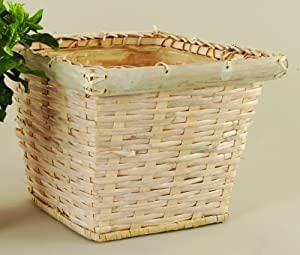 10 inch Square Whitewash Bamboo Rattan Plant Decor Pot Cover / Organization Basket