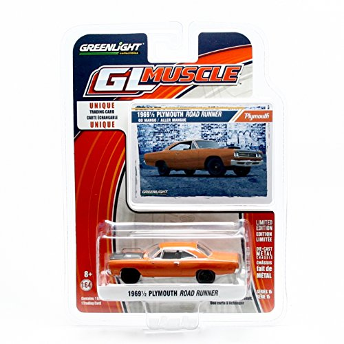 1969½ PLYMOUTH ROAD RUNNER (Go Mango) * GL Muscle Series 15 * Greenlight Collectibles 2016 Limited Edition 1:64 Scale Die-Cast Vehicle & Collector Trading Card