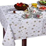 100% Cotton Christmas Gold Snowflake Tablecloth