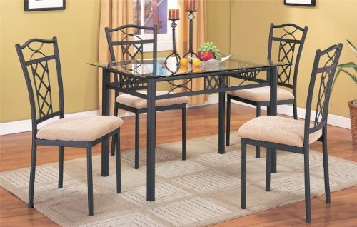 Cheap 5 PC. Set 8mm Beveled Glass Top Table and High Back Fabric Seat Chairs in Black Finish (F2121)