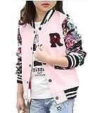 [ゼンアン]ZENAN スタジャン 女の子 子供 キッズ 花柄 ロゴ 派手かわいい ジャケット ピンク 120